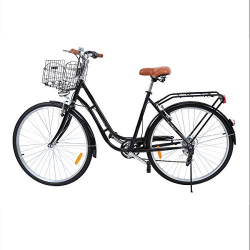 Ridgeyard 28 Zoll 7 Stadtrad Damen Männlich Fahrrad Damenfahrrad Outdoor Sportstadt Urban Fahrrad Shopper Fahrrad Licht + Korb + Glocke + batteriebetriebe (Schwarz)