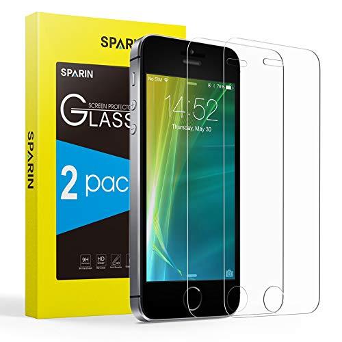 Sparin Displayschutzfolie für iPhone SE / 5S / 5C / 5, gehärtetes Glas, Kratzfest, kristallklar, 2 Stück
