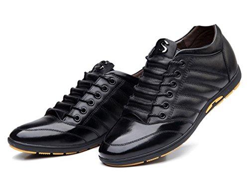 Basket mode homme chaussure de sport augmentation cheville cuir respirant ciseler libre loisir soulier commercial Noir