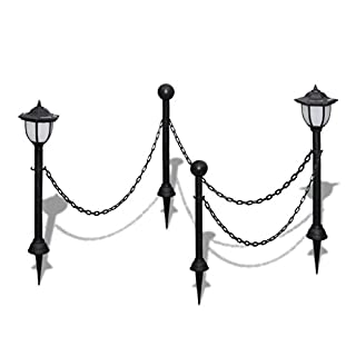 Anself Garden Chain Fence with Solar Lights 2 LED Lamps 2 Poles