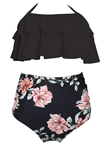 Echinodon Mädchen Bikini Set Zweiteiler Neckholder Bademode mit Rüschen Blumen Kinder Badeset Schwimmanzug Schwarz 140