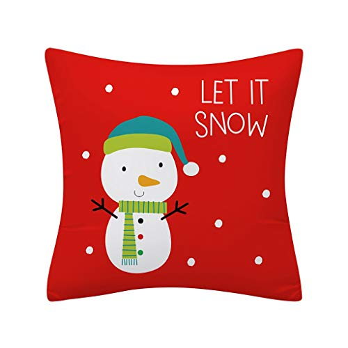 OPALLEY Dekorativ Kissenbezug Weihnachten Muster 45 x 45cm Sofa Büro Dekor Kissenhülle aus Baumwoll und Leinen