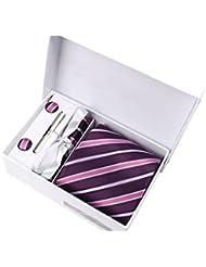 Coffret Cadeau Alexandrie - Cravate prune à rayures pourpres, blanches et noires, boutons de manchette, pince à cravate, pochette de costume