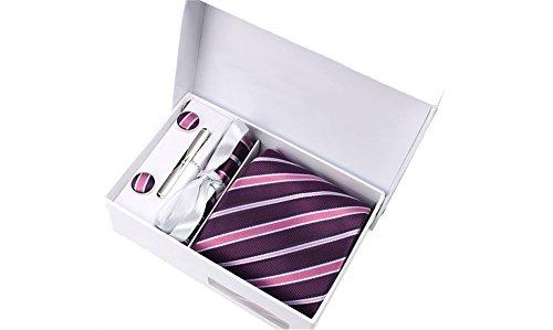 Coffret Singapour - Cravate violet aubergine à rayures violettes, blanches, noires et parme, boutons de manchette, pince à cravate, pochette de costum