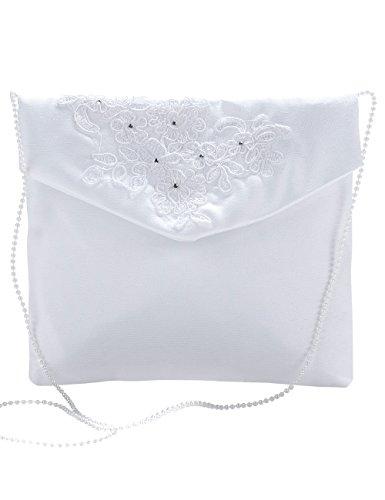 Princess Taufkleid Brautbeutel aus Satin in Weiß und Ivory Weiß/durchsichtig