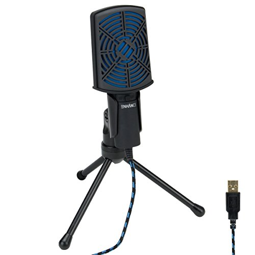 Computer Mikrofon von ENHANCE - USB Kondensator Mikrofon mit verstellbarem Standfuß, einfaches Plug & Play Design und Mute Switch - ideal für Skype, Konferenzgespräche, Twitch, Youtube, Discord und Recording