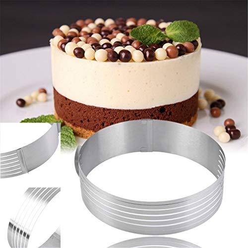 Características: Alta calidad. Anillo para tartas, material duradero, no se oxida fácilmente. Cómodo anillo ajustable, corta cualquier tamaño que desees. Con brecha de capas, fácil de deslizar tu tarta. Molde perfecto para cocinar, hornear, pasteles,...