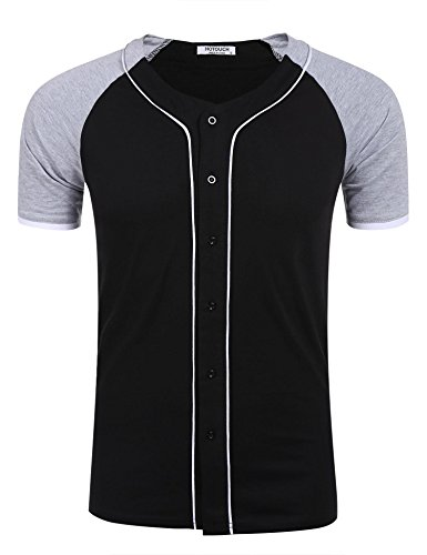 HOTOUCH Herren T-Shirt Casual Herrenshirts Kurzarm Basic Shirt mit  Knopfleiste Kontarst Tee Typ1_Schwarz