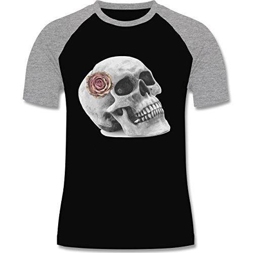 Rockabilly - Totenkopf Rose Vintage Skull - zweifarbiges Baseballshirt für Männer Schwarz/Grau Meliert