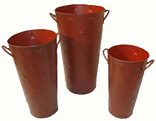 Craft Outlet Barn Red Embossed Flower Pot with Star, 9-Inch - Red Flower Pot