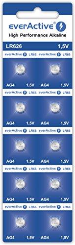 everActive AG4 1.5V, 10x Batterien, Alkaline, Mini, G4 LR626 LR66, 5 Jahre Haltbarkeit, 10 Stück - 1 Blisterkarte