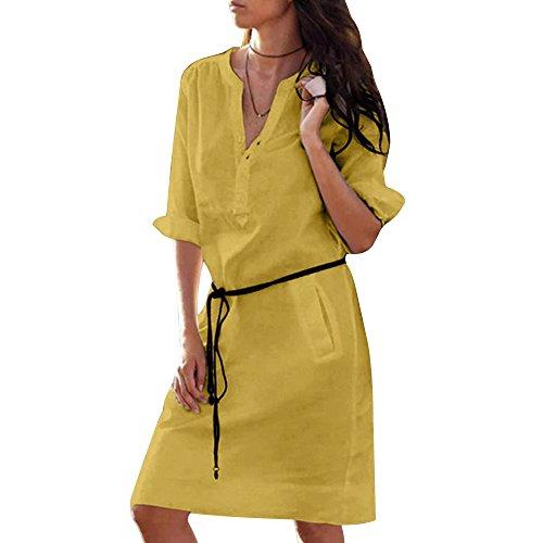 Vertvie Damen Kleider Bluse Langarm Lose V-Ausschnitt Knielang Casual Oversize Longshirt Hemdkleid Tops Strandkleid mit Taschen (S, Gelb)