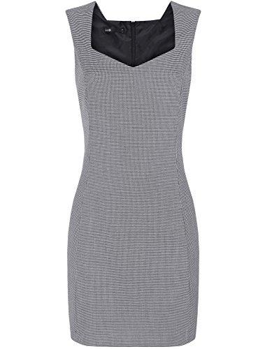 oodji Ultra Femme Robe Basique en Tissu Épais avec Encolure en Forme de Coeur Gris (1029G)