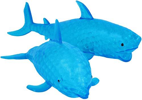 com-four® 2X Figurine Anti-Stress avec Clignotant à LED - Pinceau en Forme de Requin ou de Dauphin - pour Enfants et Adultes [Le Choix varie] (02 pièces - Poisson)