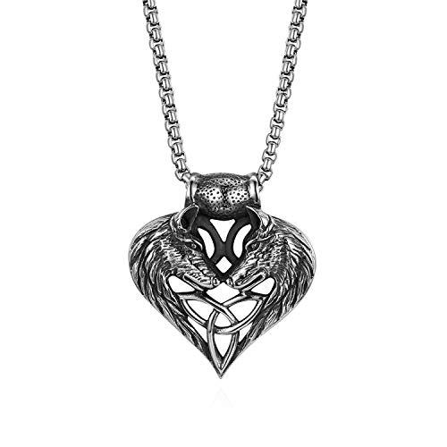 Cupimatch Triquetra Kette Doppel Wolf Kopf Herren Edelstahl Halskette für Männer Anhänger Vintage Retro Keltisch Triangle Jungen Schmuck 56cm, Silber