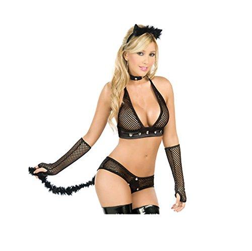 Top Totty Sexy Kitten Fishnet Costume (Medium)
