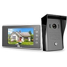 1byone Video-Türsprechanlage mit 2-Draht-Videogegensprechanlage, 7-Zoll-Farb-Monitor und HD-Kamera Video-Türklingel (15m-Kabel), Leicht an jeder Oberfläche zu befestigen