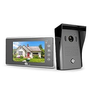 1Byone Visiophone Couleurs - 1 x Moniteur Ecran Vidéo 7-Pouce et caméra HD avec 125 cm de Câbles, 1 x Sonnette d'Extérieure 120° Angle Visuelle Vision Nocture IR - 2 Câbles Vidéo Système Intercom avec 1G SD Carte