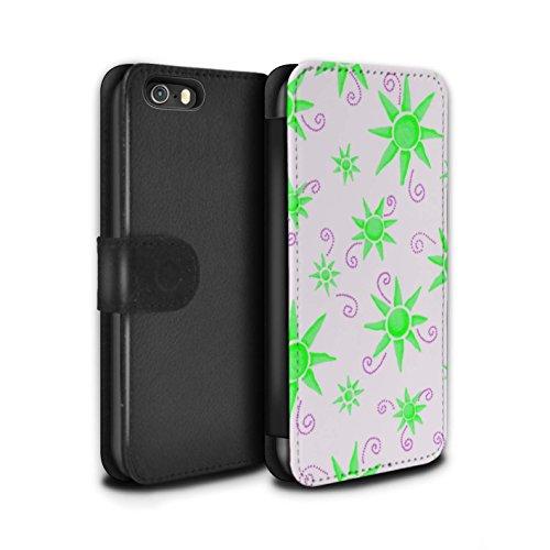 Stuff4 Coque/Etui/Housse Cuir PU Case/Cover pour Apple iPhone SE / Pack (14 pcs) Design / Motif Soleil Collection Vert/Blanc