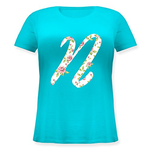 Anfangsbuchstaben - N Rosen - Lockeres Damen-Shirt in großen Größen mit Rundhalsausschnitt Türkis