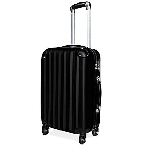 Hartschalenkoffer Hardshell Solo Reisekoffer Hartschalenkoffer Koffer Businesskoffer Trolley ✔Schloss ✔gummierte Rollen ✔ABS-Schale ✔Alu-Teleskopgriff ✔XL - schwarz