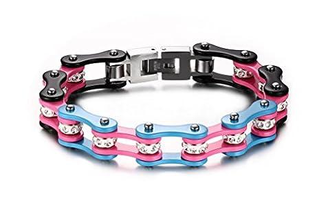 vnox Schmuck Schwere Edelstahl Herren Bike-Kette Armband für Herren, pink, blau & schwarz