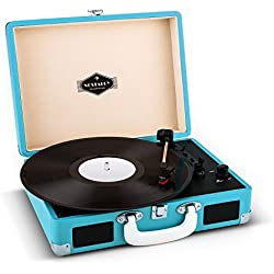auna Peggy Sue tocadiscos retro (USB, altavoces estéreo integrados, salida RCA, digitalizador LP) - azul