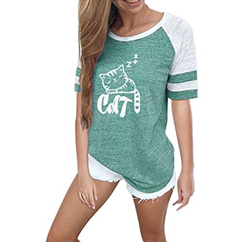 OVERDOSE Mode Damen Frauen Rundhals Lange Hülsen Spleiß Blusen Oberseiten Kleidung T-Shirt Tops Pullover (Kostüme 26-halloween Damen-größe)