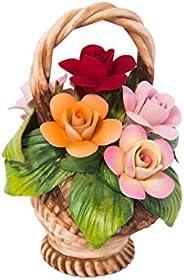Composizione Fiori In Porcellana, Cestino Con Rose Fatto E Decorato A Mano Stile Capodimonte Made In Italy