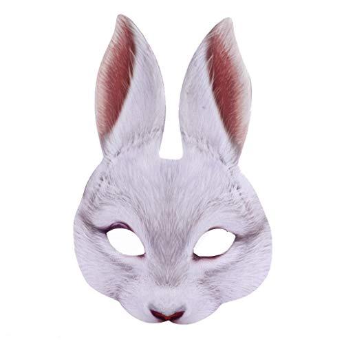 Damonday Halloween Kaninchen Halbe Gesichtsmaske Hasen Ohr Maske für Ostern Karneval Party Kaninchen Kostüm Lustiges Kostüm Co Mask-Bunny Kostüm Tier Kostüm Halbmaske (Weiß) (Tote Kaninchen Kostüm)