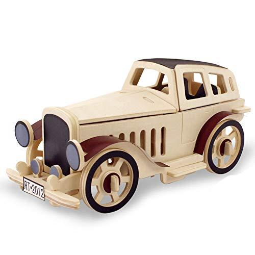 (ZX Wenn Zustand Holz 3D Puzzle Stück Kreative Kinder Spielzeug Geschenk Oldtimer Montage Modell,Cabrio Auto,1)