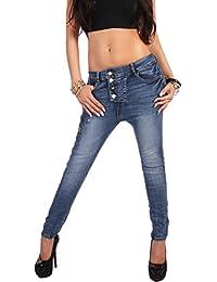Jean pour femme de la marque aladin boyfriendcut pantalon pump en harem antiform goldknöpfe xS 34–bleu-taille 42