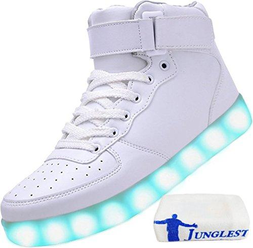 (Présents:petite serviette)JUNGLEST® Unisexe Homme Femme USB Charge LED Lumière Lumineux Clignotants Chaussures de marche Chaussures de Sports Baskets LED Hig Blanc