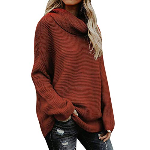 CommittedeDamen Kontrastfarbe Pulli Pullover Rollkragen Sweatshirt Kapuzenpulli Top Sweatshirt Langarmshirt V-Ausschnitt Pullover Casual Einfarbiger Strickpullover -