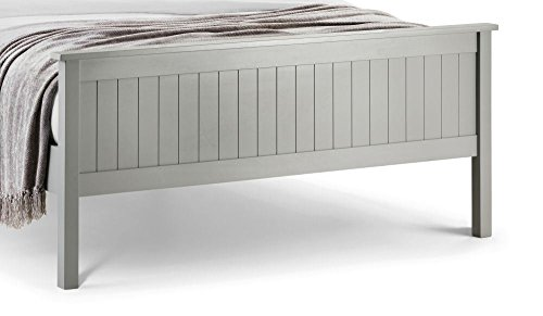 Happy Beds Maine Modern Dove Grey Wooden Bed with Orthopaedic Mattress 5' King Size 150 x 200 cm