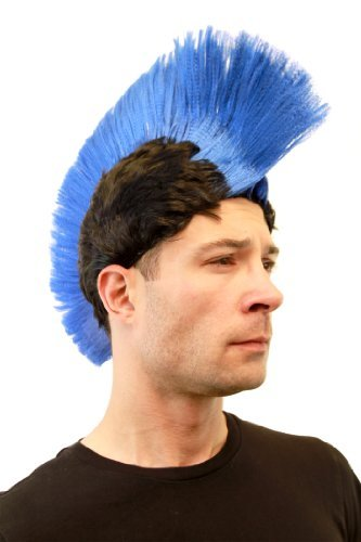 Carnaval-Perruque-bleue-style-Punk-Mohawk-iroquois-spartiate