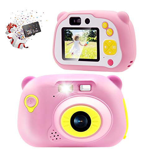Sonkir 32GB Kids Camera 15.0MP Appareil Photo numérique Rechargeable Avant et arrière caméra Selfie caméscope Enfant, Cadeau Jouet pour garçons et Filles de 4 à 10 Ans (Rose)