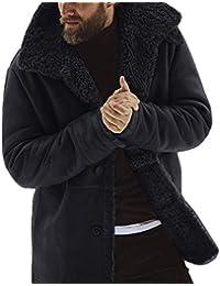 Hombres Chaqueta Color Sólido Caliente Cazadora Abrigo Invierno Gruesa Abrigo Botón Parka Abrigo Manga Larga Moda