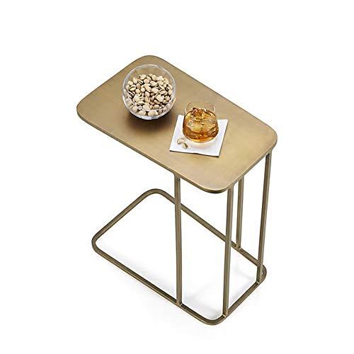 Couchtische HAIZHEN Einfache Sofa Tisch C-förmigen Schmiedeeisen Nachttisch Leichte Snack Tisch, Gold (50 * 30 * 58 cm) -