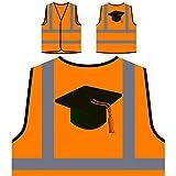 Blaue Abschlusskappe Personalisierte High Visibility Orange Sicherheitsjacke Weste r139vo