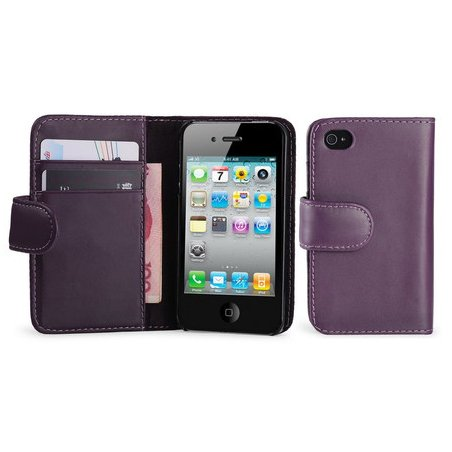 Gadgets World Portefeuille de couverture de chiquenaude Grip Case en cuir PU s'adapte pour Apple iPhone 5S, 5G, et Iphone 5 seulement + Grand Stylus Touch Pen. (Dark Purple) Dark Purple