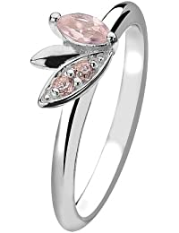 Virtue Silver Stackable VRS4023 Silver Marquise Leaf Pink Cubic Zirconia Ring