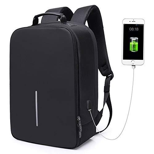 Zaino Antifurto per Portatile 15.6',Zaino PC con USB per Uomo,Zaino Casual Imermeabile per Lavoro/Tablet/Notebook,Zaino con Tasca di Ufficio/Affari,Laptop Backpack,Borsa da Scuola/Viaggio(Nero)