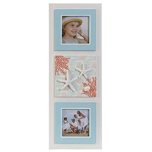 Fotorahmen Multi-für Wand, Holz, Weiß und Blau, für Fotos von 10X10. Design Strand/Seemann - Haus und Mehr - A