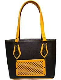 Double Colour Contrast Shoulder Handbag | Black & Yellow Colour | For Women | By AZED Collections