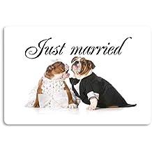 """'""""Just Married–Bulldog Felpudo (estampado Felpudo Interior frigo divertido diseño Felpudo ("""