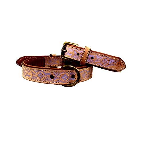 MICHUR CREEK, Hundehalsband, Lederhalsband, Halsband, BEIGE, LEDER, fliederbarbene Stanzungen, in verschiedenen Größen erhältlich - 4