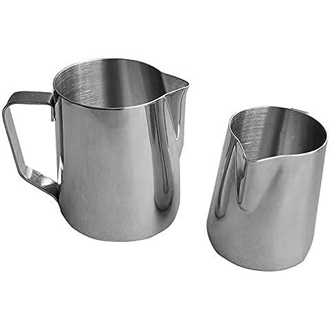 shzons ™ Latte in acciaio inox brocca per caffè, latte e schiuma di latte 20-Oz