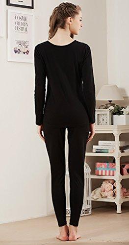 YouPue Ensemble De Sous-Vêtement Thermique Femme Mince Pyjama Set Tricotage Manches Longues Pyjama Costume Noir