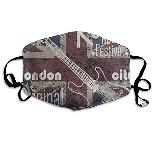 Miedhki Dustproof Anti-Bacterial Washable Reusable Vintage Union Jack Rock Music Note Mouth Cover Mask Respirator Germ Protective Breath Healthy Safety Warm Windproof Mask Unisex8
